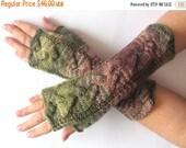 Fingerless Gloves Brown Beige Moss Green wrist warmers