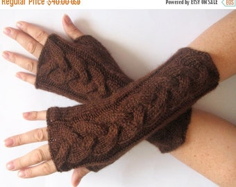 "Fingerless Gloves Brown 9"" Mittens arm warmers Knit Soft Acrylic Mohair"