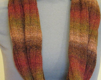 Striped Infinity Scarf Cowl Wrap Beige Brown Orange Red Green