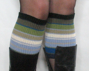 Boot Cuff Boot Toppers Leg Warmers Green Salad Azure Blue Boot Socks Cable Striped Multicolored