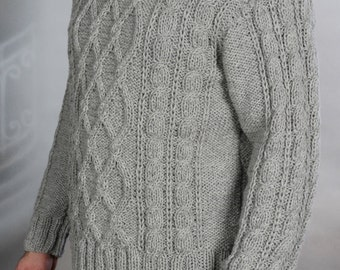 Sweater mens hand knit Gray  XL SALE