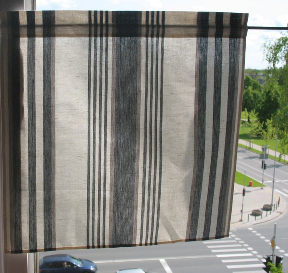 Linen Stripe Kitchen Curtains: Gray Curtains Cafe Curtains White Black Striped Washed Linen