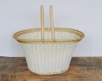 Vintage Bike Basket Woven Plastic Handled Adult Bicyle