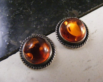 Vintage Glowing Golden Baltic Amber Pierced Earrings in Sterling..... Lot 4682