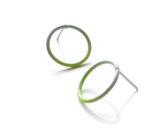 small circle stud earrings in neon green and grey, delicate minimalist earrings with a hypoallergenic steel  post SALE 50% OFF