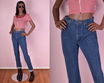 70s Blue Denim High Rise Jeans/ 26.5 Waist/ 1970s
