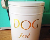 Pet Food Storage Tin Gold Lettering