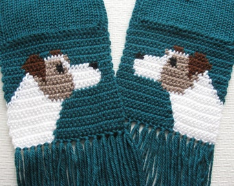 Jack Russell Terrier Scarf. Teal crochet scarf with Parsons Terriers. Knit dog scarf. Parsons Jack Russell. Wire Fox Terrier