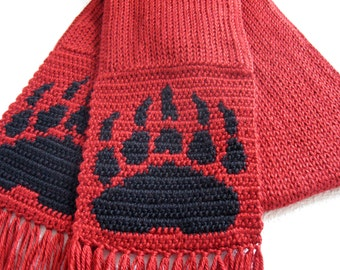 Bear Claw Scarf. Autumn red knit scarf for men or women with bear paw print.