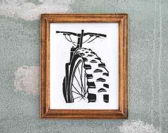Mountain Bike Art - Black Linocut Relief Print
