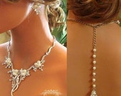 Bridal jewelry set, backdrop necklace, bridal necklace,Wedding jewelry,  rhinestone pearl necklace, bridal statement, bridesmaid jewelry set
