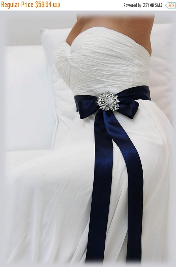 Navy blue bridal sash crystal sash ribbon sash for Blue sash for wedding dress