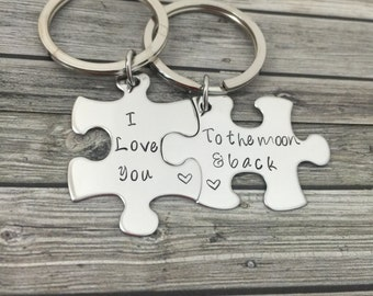 I love you to the moon and back Keychains, Couples Set, Puzzle Piece Keychains, His Hers Keychains, Boyfriend Girlfriend Gift