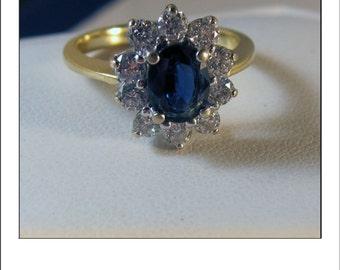 Vintage 18k 2 CT Sapphire Diamond Halo Engagement Ring - Princess Diana Style