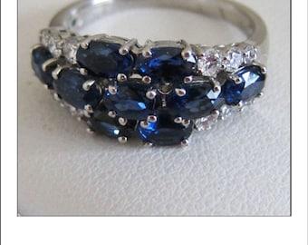Estate 18k 3.64 CT Ceylon Sapphire Diamond Multi-cluster Ring