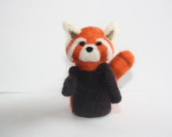 miniature red panda needle felted sculpture