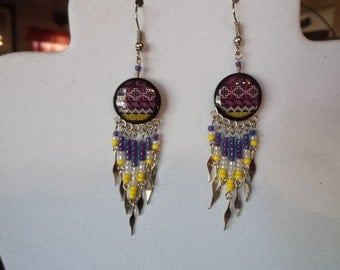 SALE Native American Style Beaded Southwestern Ceramic Earrings in Purple and Black Drop, Gypsy, Boho,Great Gift Ready to Ship
