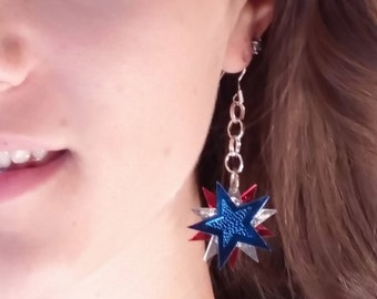 Foil Red Silver and Blue stars dangle earring, casual to date night,  lightweight, movement free flow, teenager to office worker