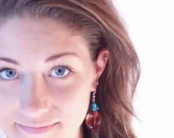 Amber and blue glass Dangle Earrings by gr8byz