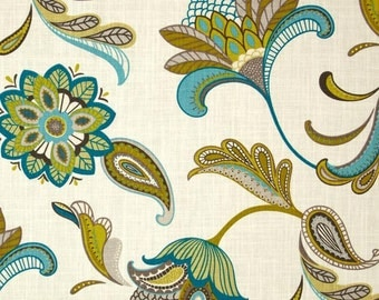 """Two 96"""" x 50""""  Custom Curtain Panels - Rod Pocket Panels- Large Floral Leaves Paisley Surf - Slate Charcoal Grey/Citrine/Turquoise/Teal"""