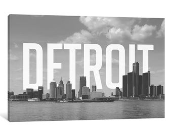 iCanvas B/W Detroit Gallery Wrapped Canvas Art Print by 5by5collective