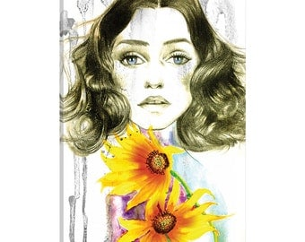 iCanvas Sunflower Girl Gallery Wrapped Canvas Art Print by Rongrong DeVoe