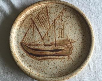 "1977 studio pottery plate Danish Modern art pottery 13"" serving platter sailing ship yacht sailboat Wilkens Ceramics"