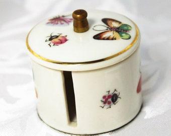 Ceramic Postage Stamp Dispenser- Butterflies and Bug Design
