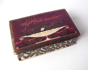 Vintage Artstyle Milk Chocolates Candy Box, Shabby Chic, Padded Paper/Cardboard