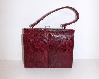 Vintage 1950s real cherry red maroon snakeskin leather handbag grab bag suede lined