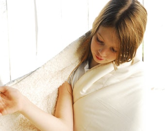 Faux Fur Blanket, Natural Cream Sateen Organic Cotton, Plush Fur Blanket, Ready to Ship