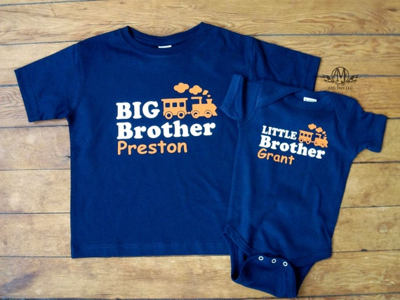 big brother shirt and little brother baby bodysuit, matching sibling shirts,  train t shirt, Big little brother