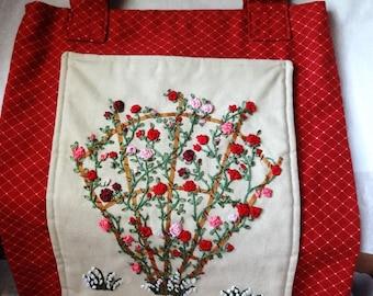 Silk Ribbon Embroidery Tote Bag Handmade