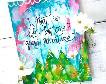 Adventure Art Print / Inspirational Art / Grand Adventure (8.5x11 inch) / Mountain Art / Adventure Themed Art / Travel Art / Graduation Gift