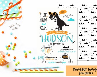 Dinosaur Invitation, T-rex invites, Dinos, Dinosaur Birthday Invitations, Printable Dinosaur invite