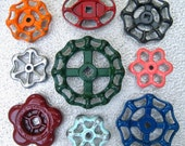 Colorful group of Vintage Valve Handles, Garden decor, Industrial, Steampunk,  Assemblage, Collection of 9 Aluminum