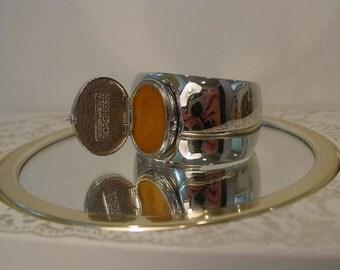 Vintage C. Sebiri Silvertone Perfume Cuff Bracelet made for Princess Marcella Borghese