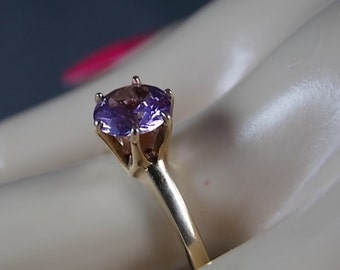 Amethyst Solitaire 1.30Ct Yellow Gold 10K 6 Prong Setting 2.6gm Size 8.75 February Birthstone Engagement