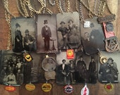 Reserved for Julie! Custom Antique Tintype Photograph Necklaces Lot