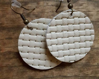 Cream Leather Circle Earring