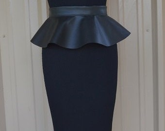 Black  Faux Leather Peplum Belt 5 or 7 inch