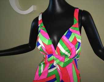Large MOD Vintage 60s Swim Dress 1960s 1970s Sears Micro Mini Dress Swimsuit Top Hippie Boho Neon Pink Green Geometric Print Built in Bra