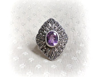 Amethyst marcasite sterling silver ring, semi precious gemstone, February birthstone, statement jewelry, size 7.5, Mothers Day