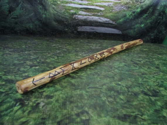 Cherry plum wood gandr wand with elder futhark runes for Elder wand runes