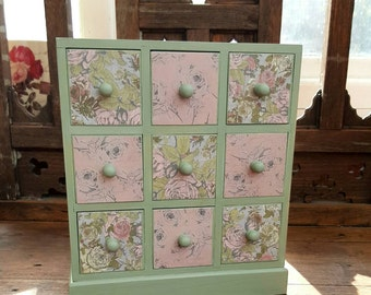 Pink and Green Wooden Mini Chest of Drawers Jewellery Box Trinket Box Craft Storage Apothecary Chest