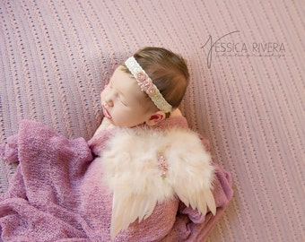 3 PIECE SET - Blush Angel Baby Wings, Vintage Lace Headband & Mauve Swaddle Wrap for newborns, photo shoots, bebe Lil Miss Sweet Pea 57