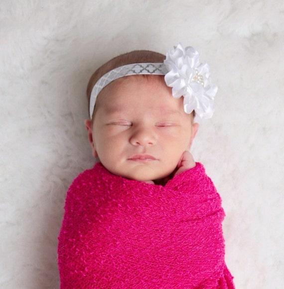 Bright Pink Stretch Knit Wrap AND/OR Headband for newborn photo shoots, photographer, photo prop, neon pink, swaddle wrap, newborn swaddle