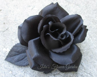 black rose hair flower clip, hair flower, black hair flower, pin up
