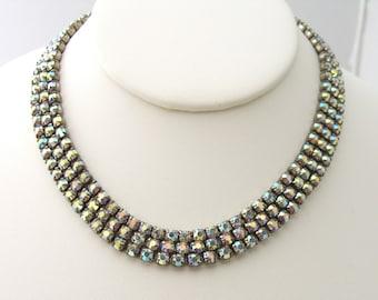 Vintage Rhinestone Necklace 1950s Mid Century Bling, Aurora Borealis