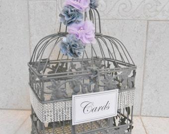 Small Gray/Purple Birdcage Wedding Card Holder / Wedding Card Box / Wedding Box / Gray Wedding / Silver Wedding / Wishing Well / Wishes Box